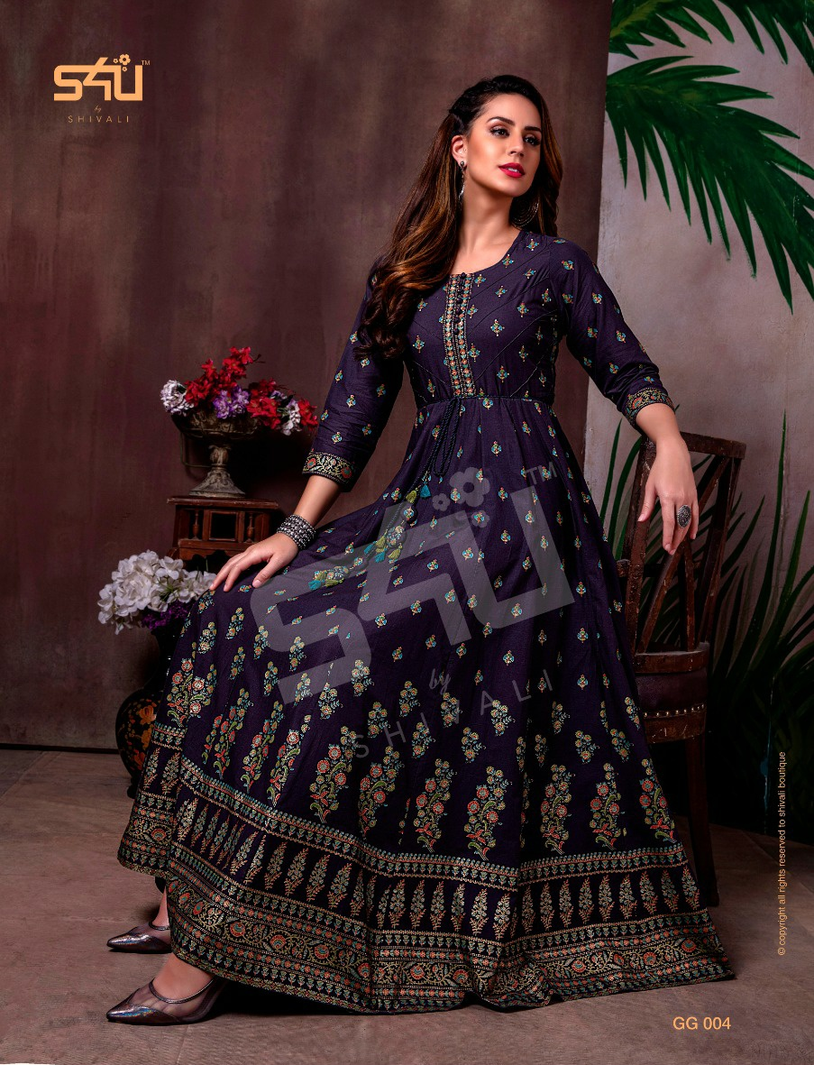 S4U Gold Gowns Elegant Look Festive Printed Kurti Collection collection 1