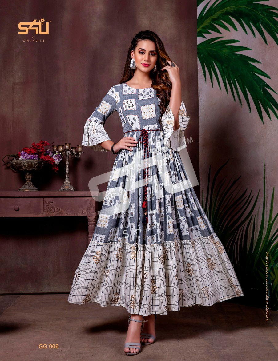 S4U Gold Gowns Elegant Look Festive Printed Kurti Collection collection 6