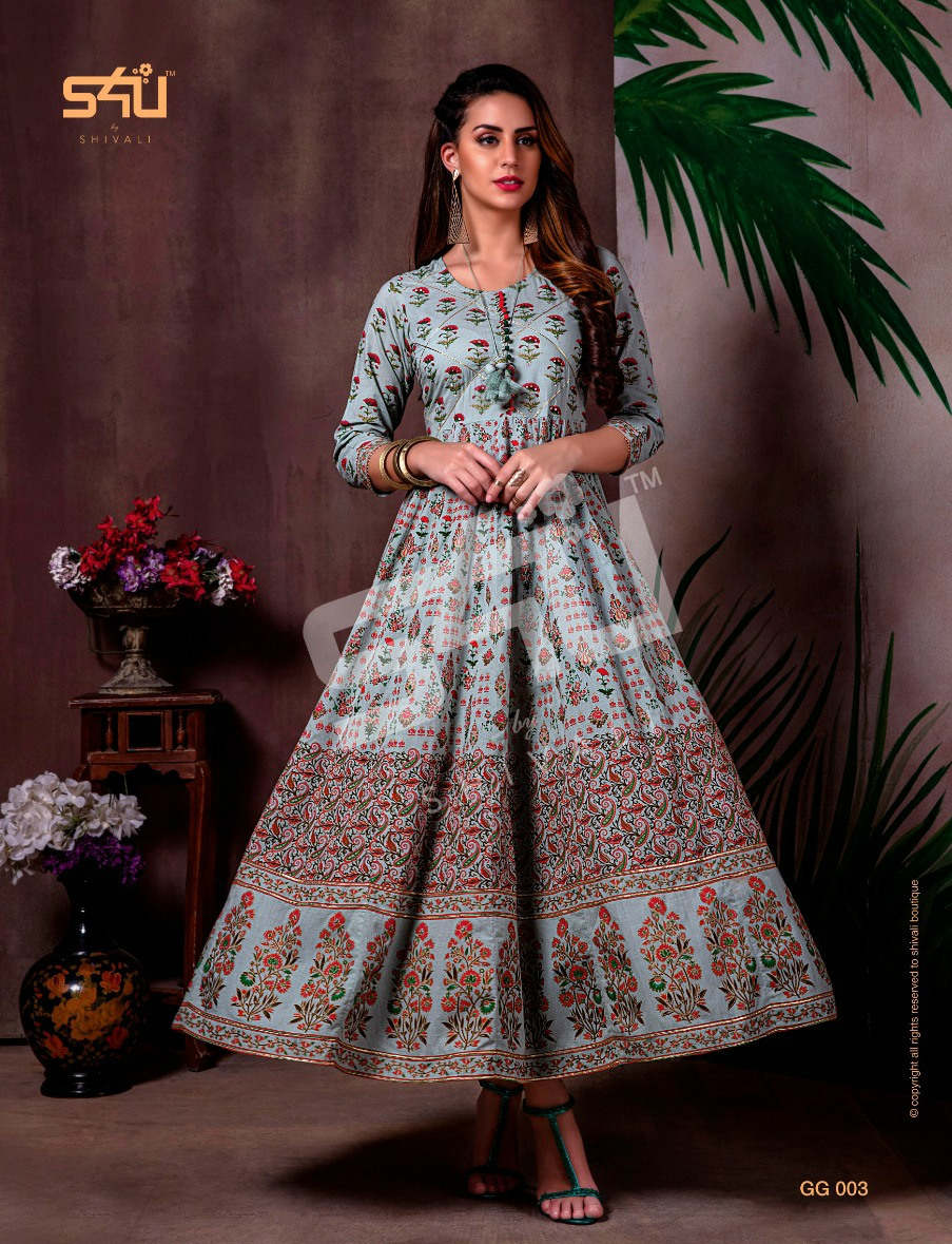 S4U Gold Gowns Elegant Look Festive Printed Kurti Collection collection 2