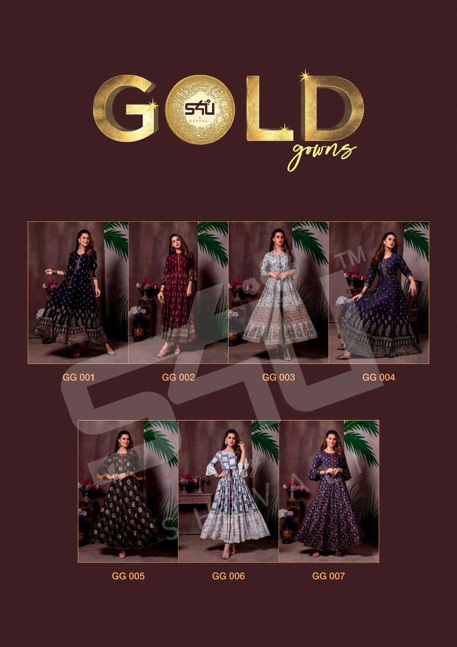 S4U Gold Gowns Elegant Look Festive Printed Kurti Collection collection 4