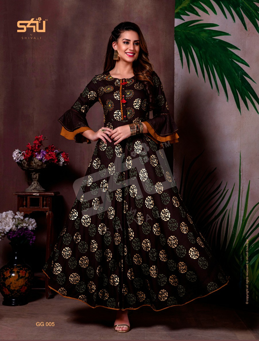 S4U Gold Gowns Elegant Look Festive Printed Kurti Collection collection 5