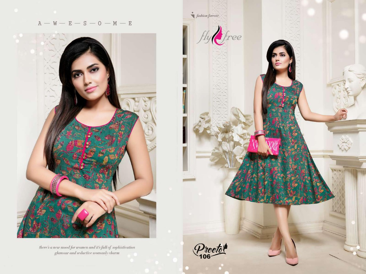 Fly Free Preeto Maslin Silk New Designer Kurti Collection collection 1