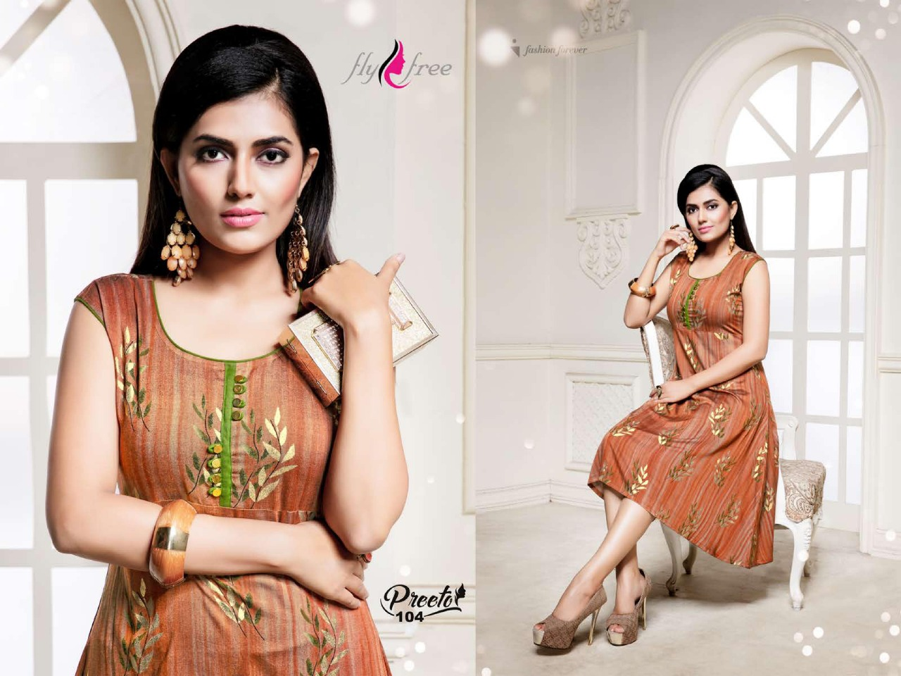 Fly Free Preeto Maslin Silk New Designer Kurti Collection collection 3