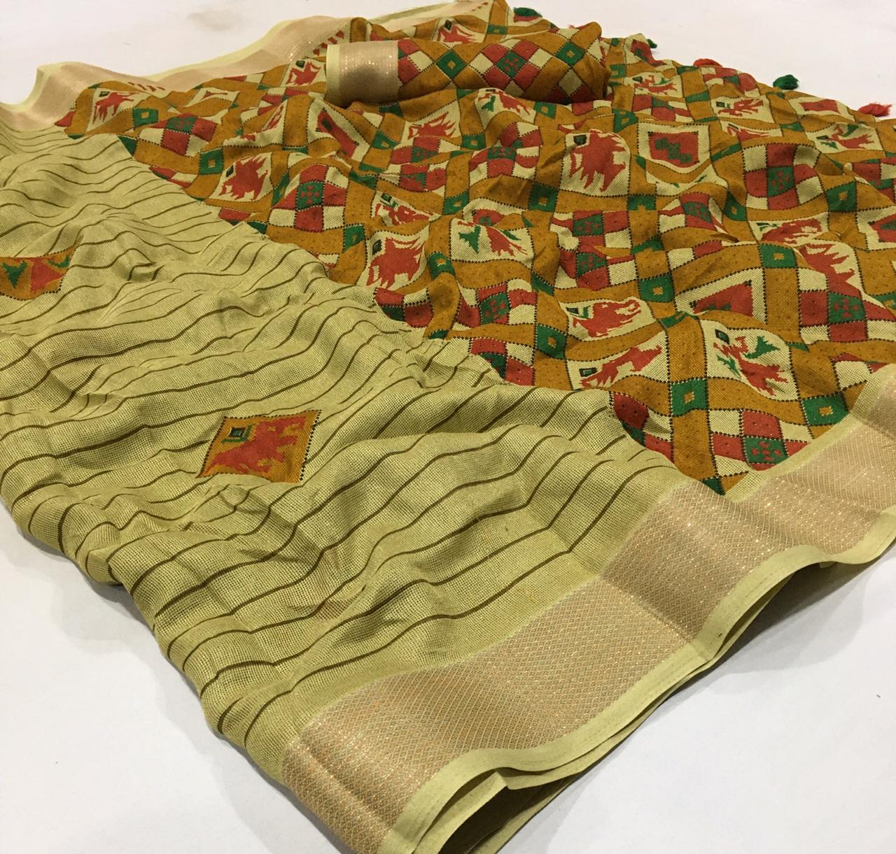 Jute Linen With Weaving Border Designer Saree Collection collection 1