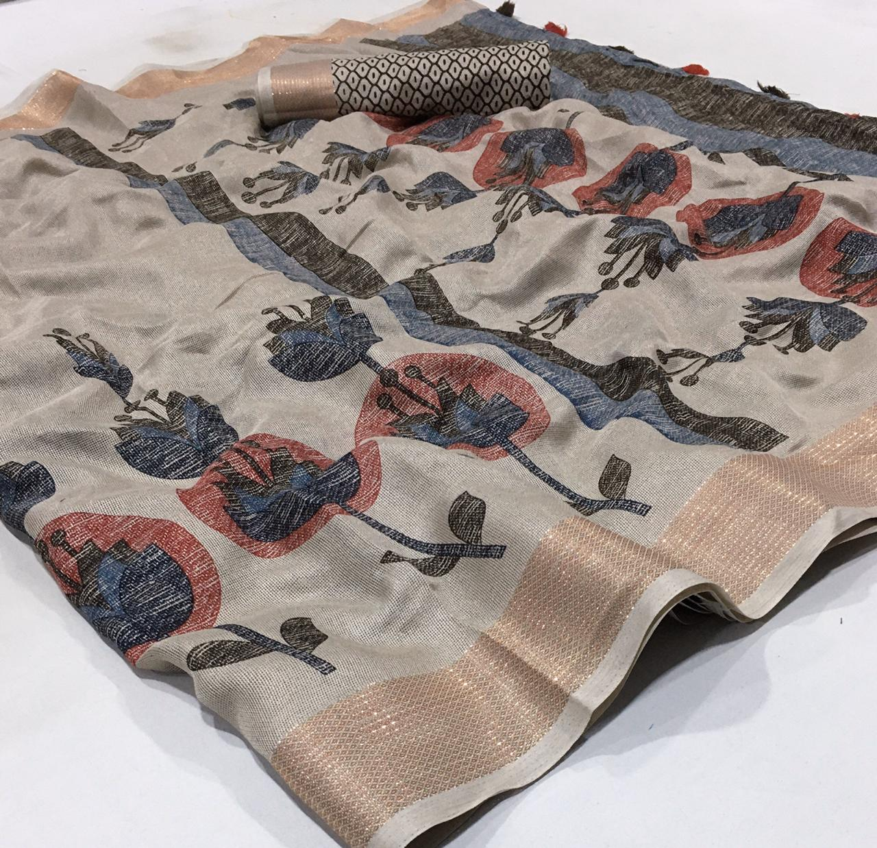 Jute Linen With Weaving Border Designer Saree Collection1 collection 3
