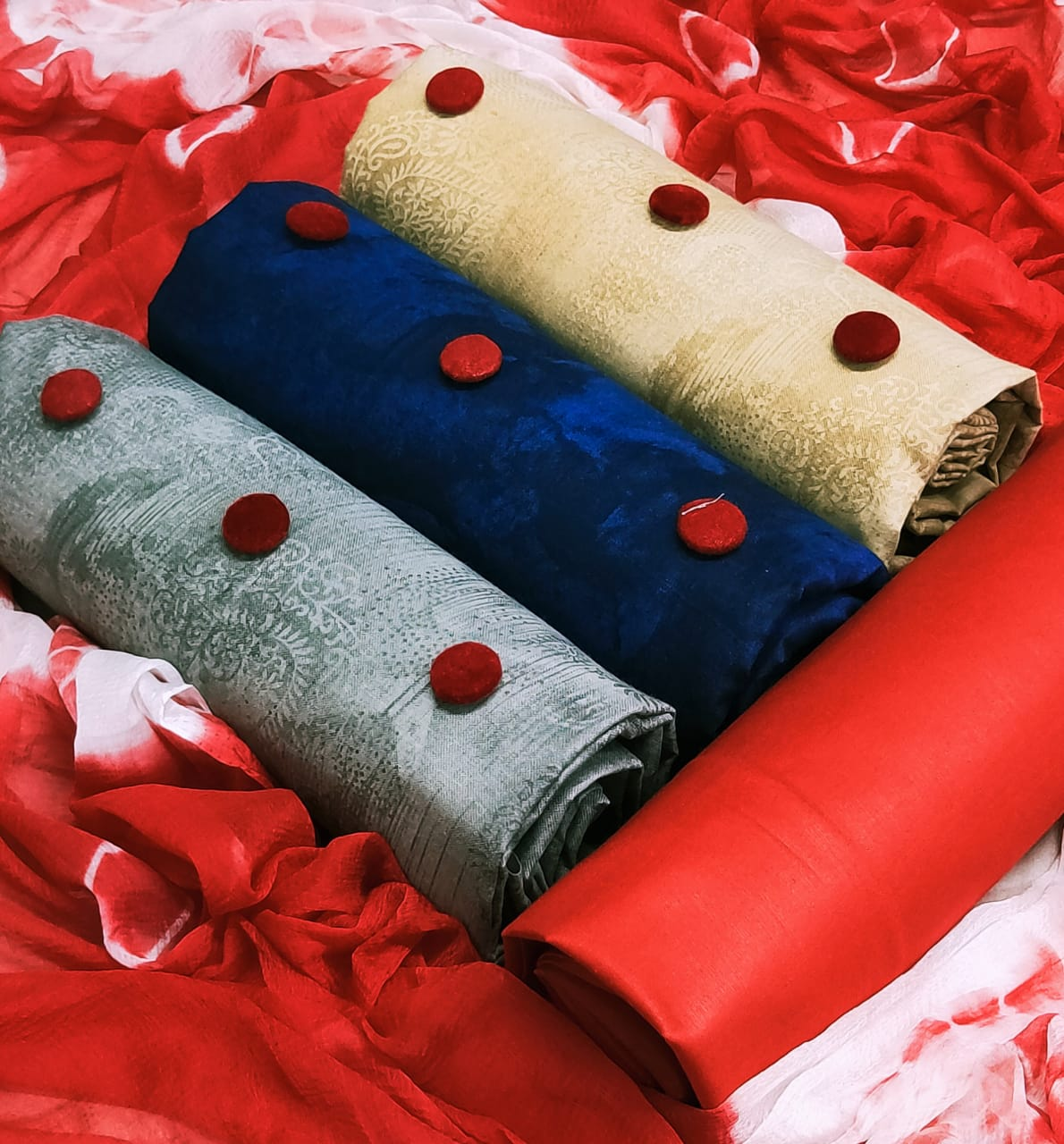 New 3 Top Designer With Cotton Dress Materials Collection collection 1