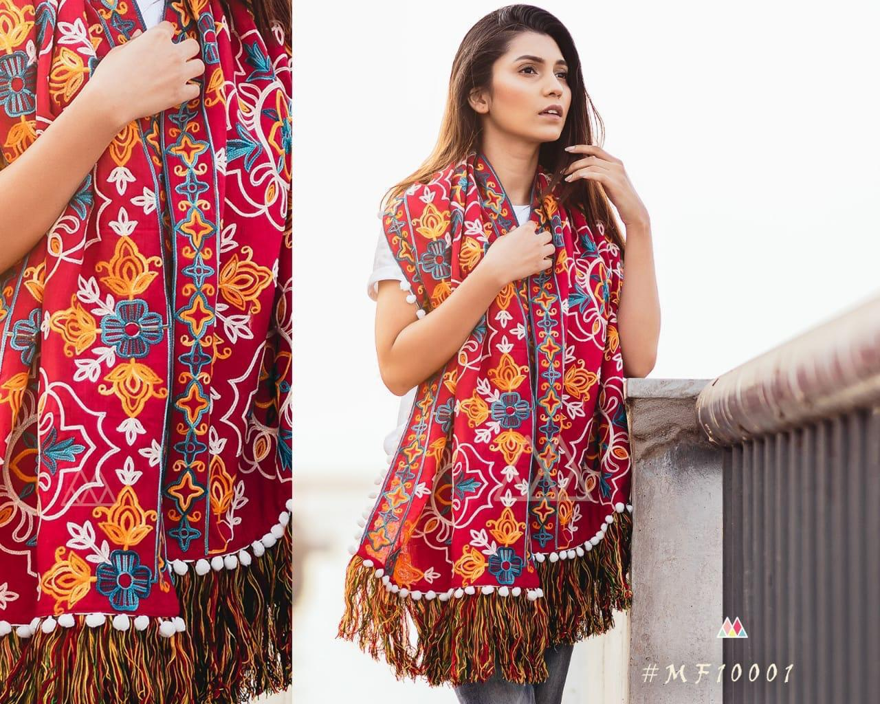 New Designer With Khadi Embroidered Stole Collection collection 10