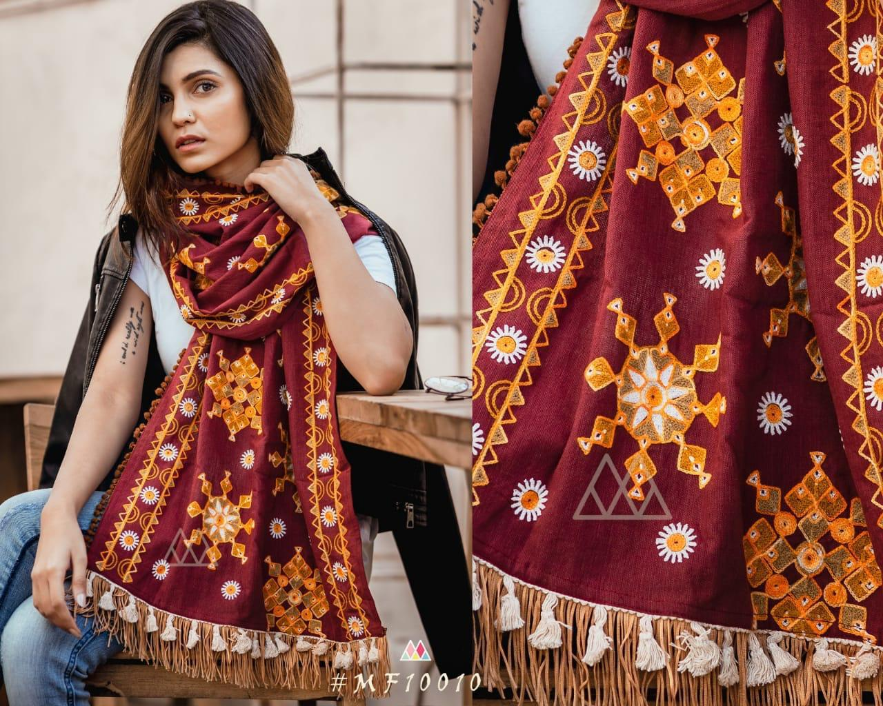 New Designer With Khadi Embroidered Stole Collection collection 1