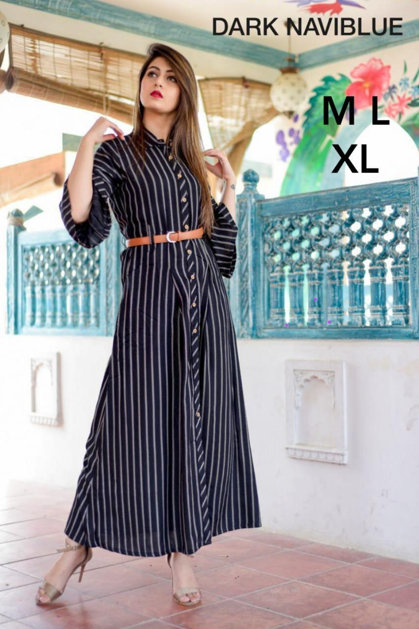 New Designer Long Kurtis With American Crepe Collection collection 7