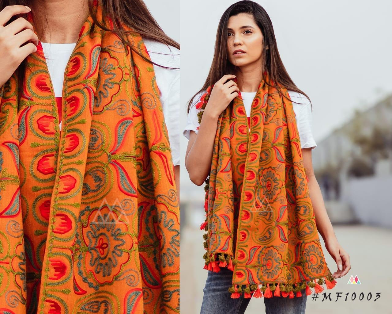 New Designer With Khadi Embroidered Stole Collection collection 9