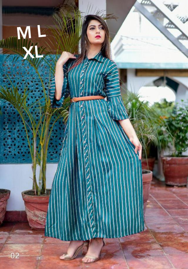 New Designer Long Kurtis With American Crepe Collection collection 2