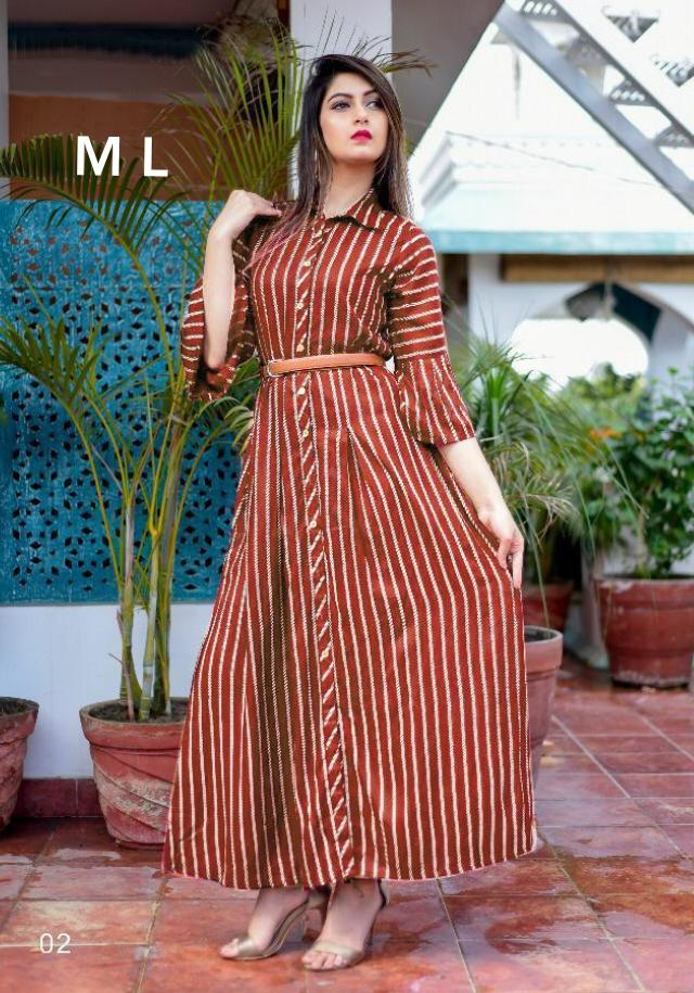 New Designer Long Kurtis With American Crepe Collection collection 4