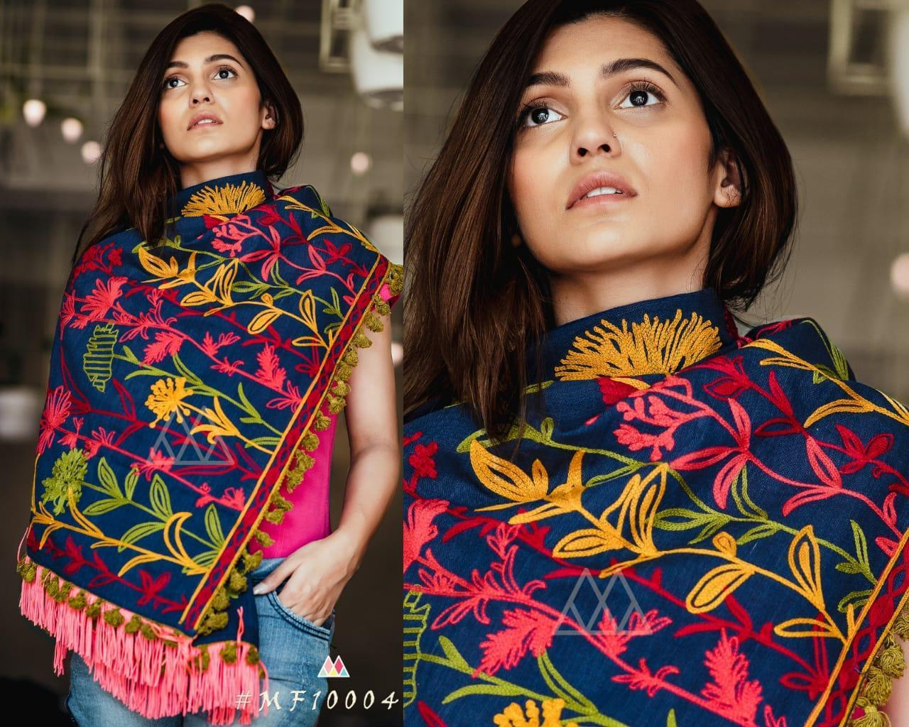 New Designer With Khadi Embroidered Stole Collection collection 6