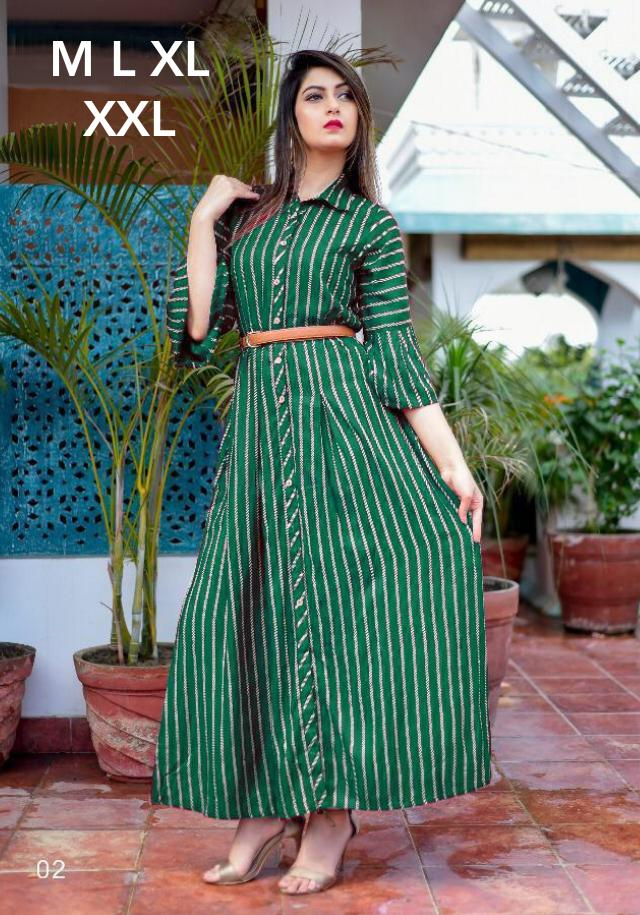 New Designer Long Kurtis With American Crepe Collection collection 5
