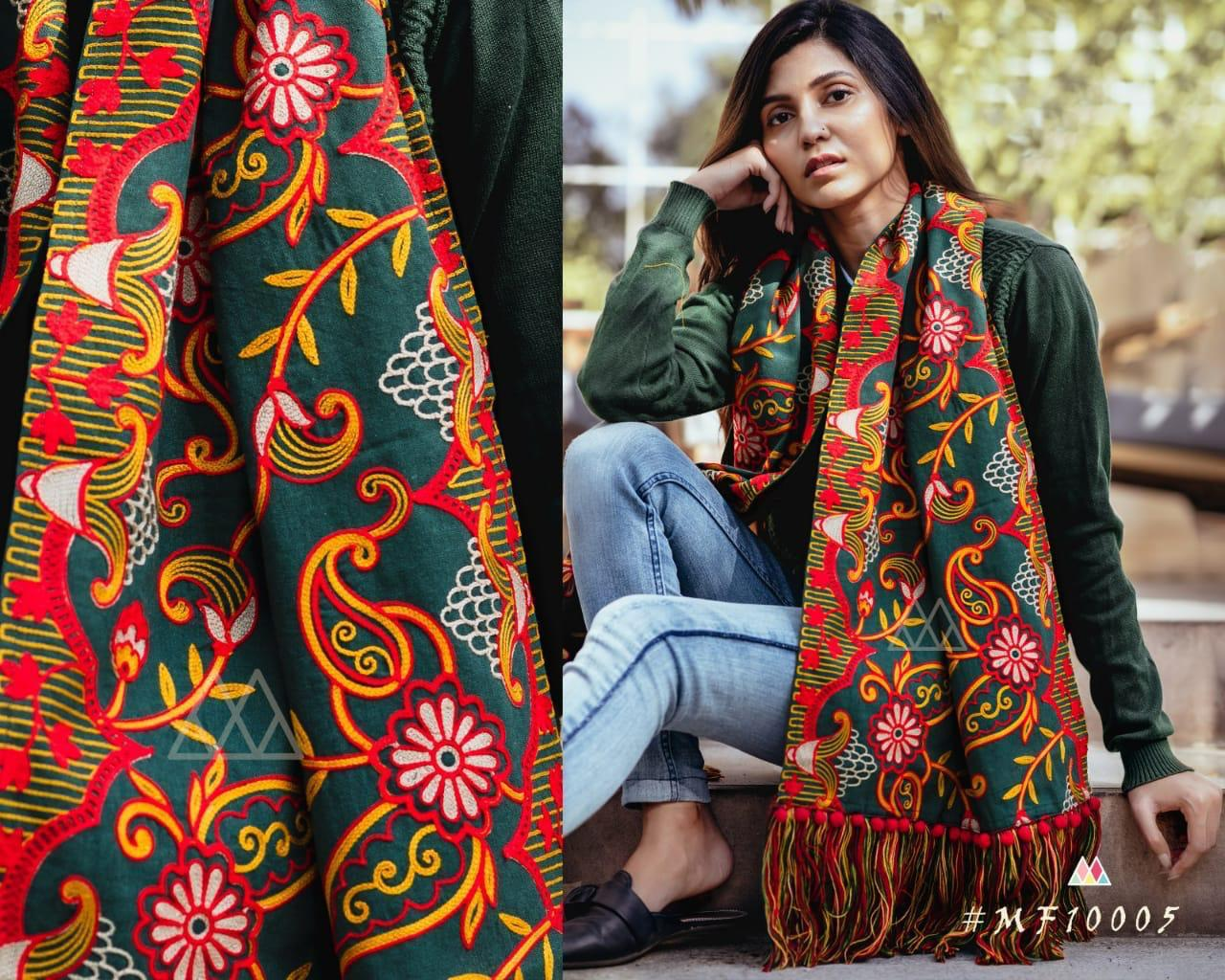 New Designer With Khadi Embroidered Stole Collection collection 8