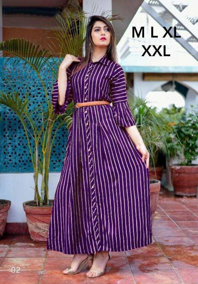 New Designer Long Kurtis With American Crepe Collection collection 3
