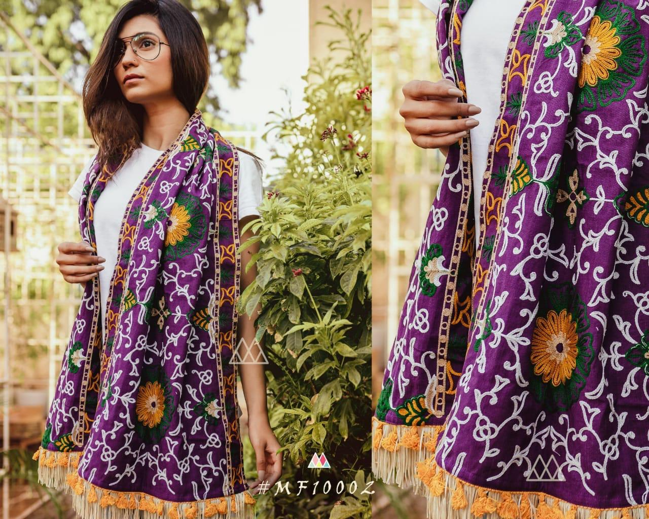 New Designer With Khadi Embroidered Stole Collection collection 7