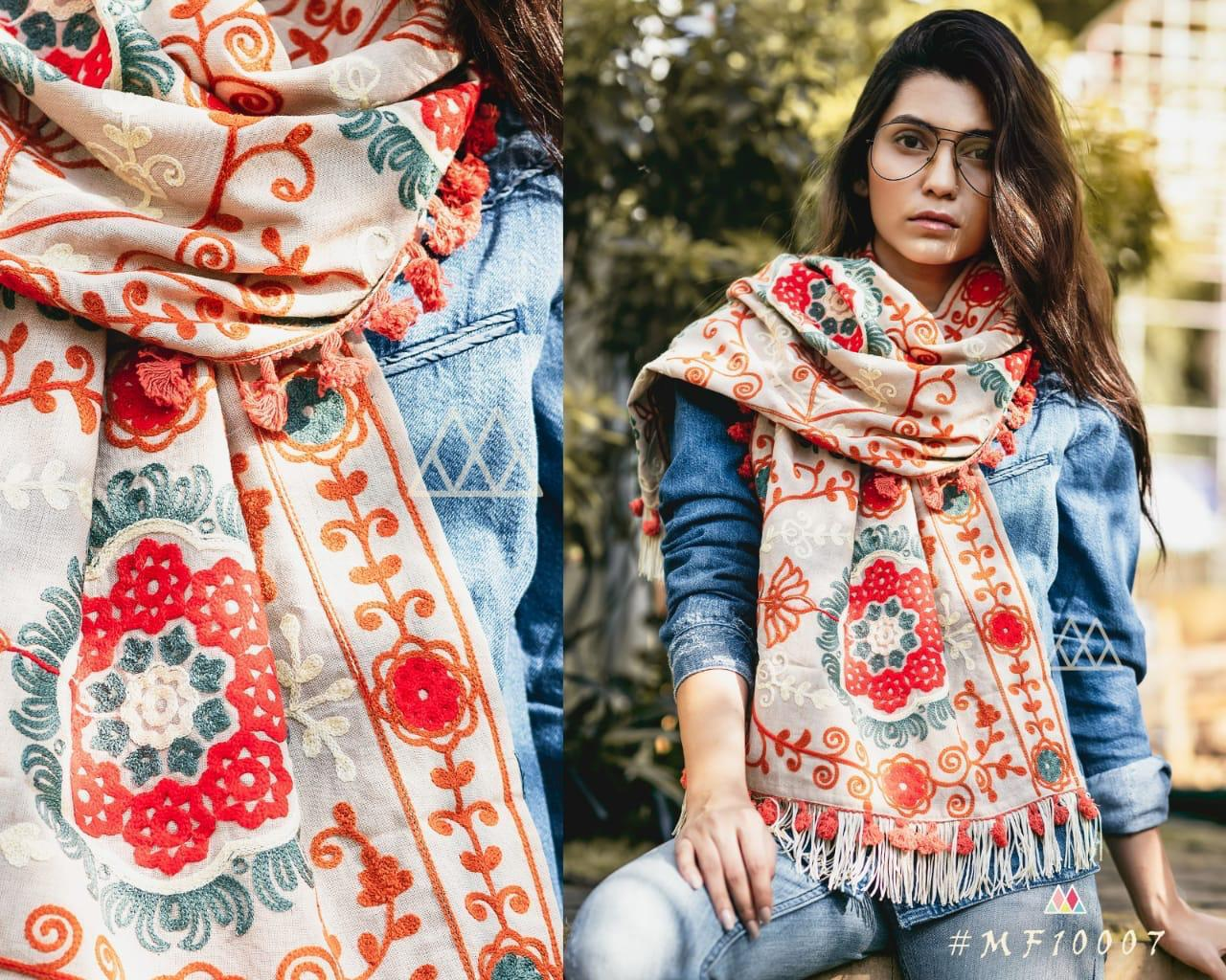 New Designer With Khadi Embroidered Stole Collection collection 5