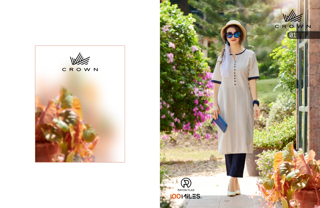 100 Miles Crown Rayon Flex Designer Kurti Collection Catalog collection 2