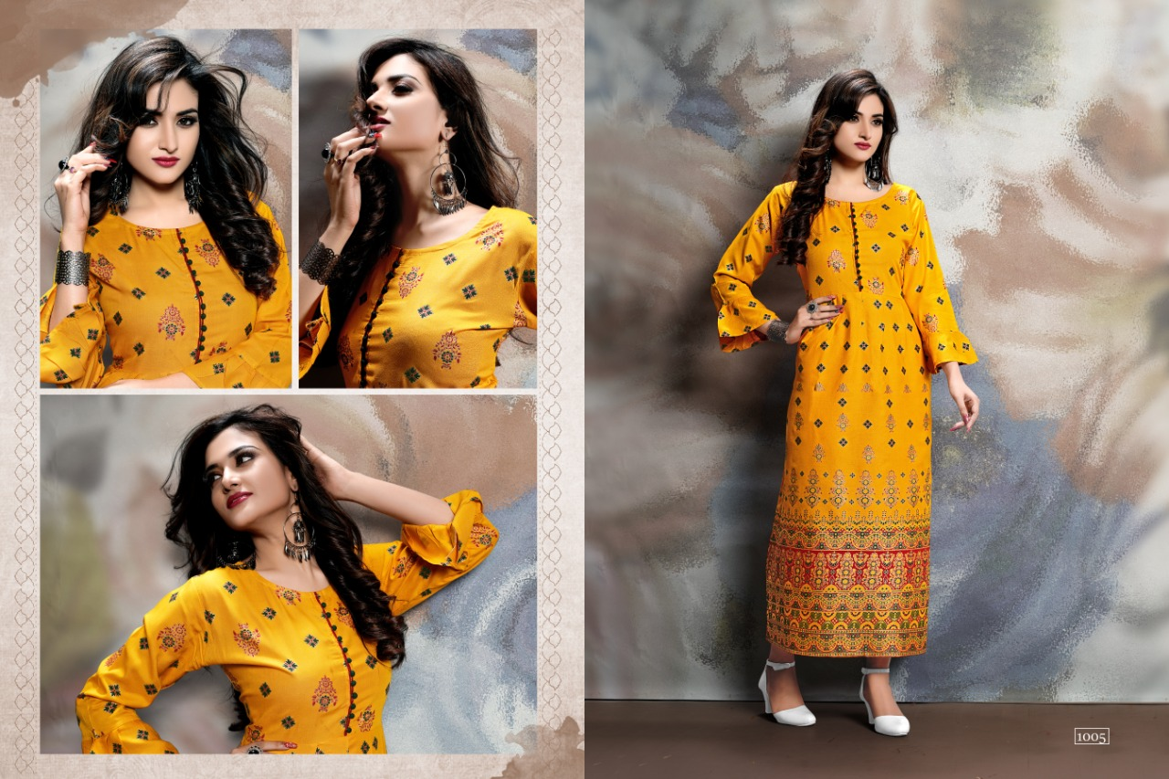 Designer Rayon Long Gown Bollywood Kurtis With Embroidery Work and Gold Print 08