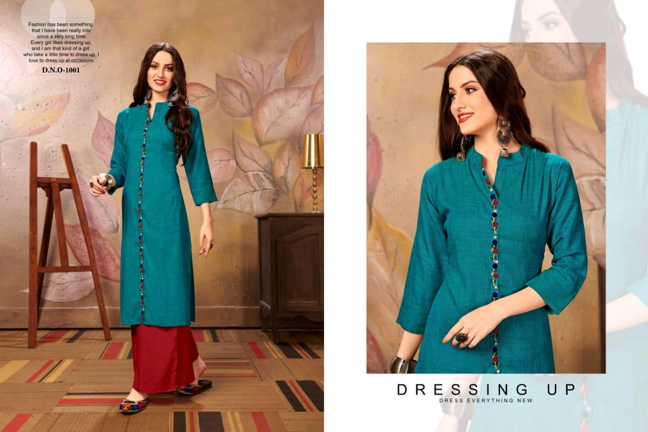 Channel 9 Rehana Rayon Cross Slub Designer Kurti Set collection 2