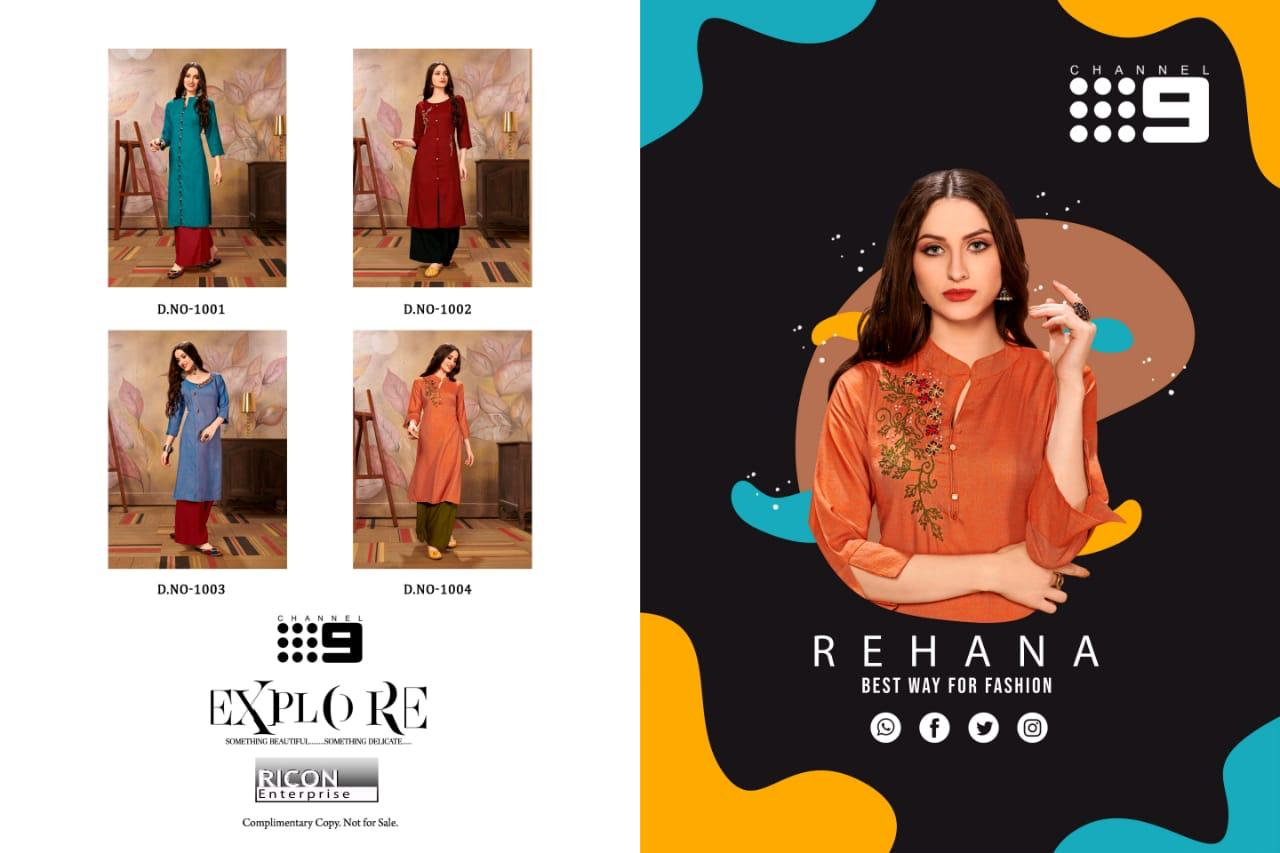 Channel 9 Rehana Rayon Cross Slub Designer Kurti Set collection 3