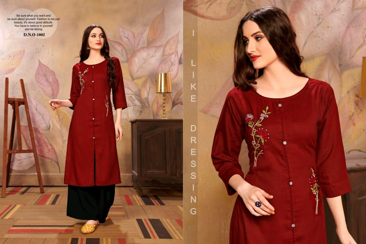 Channel 9 Rehana Rayon Cross Slub Designer Kurti Set collection 4