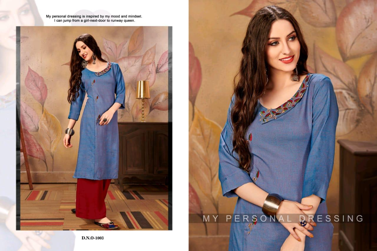 Channel 9 Rehana Rayon Cross Slub Designer Kurti Set collection 1
