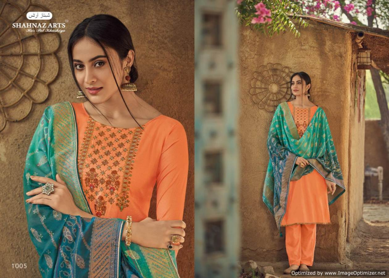 Shahnaz Diyah Heavy Tussar Silk Designer Dress Material collection 5