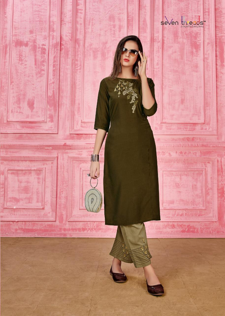 Seven Threads Rung Prime Silk Designer Kurti With Pant collection 11