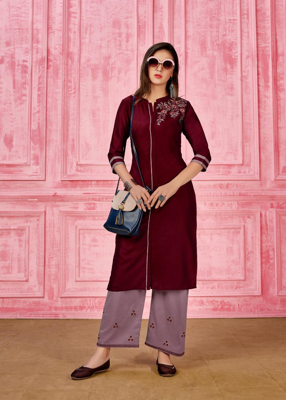 Seven Threads Rung Prime Silk Designer Kurti With Pant collection 3