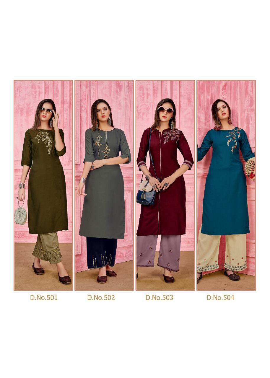 Seven Threads Rung Prime Silk Designer Kurti With Pant collection 4