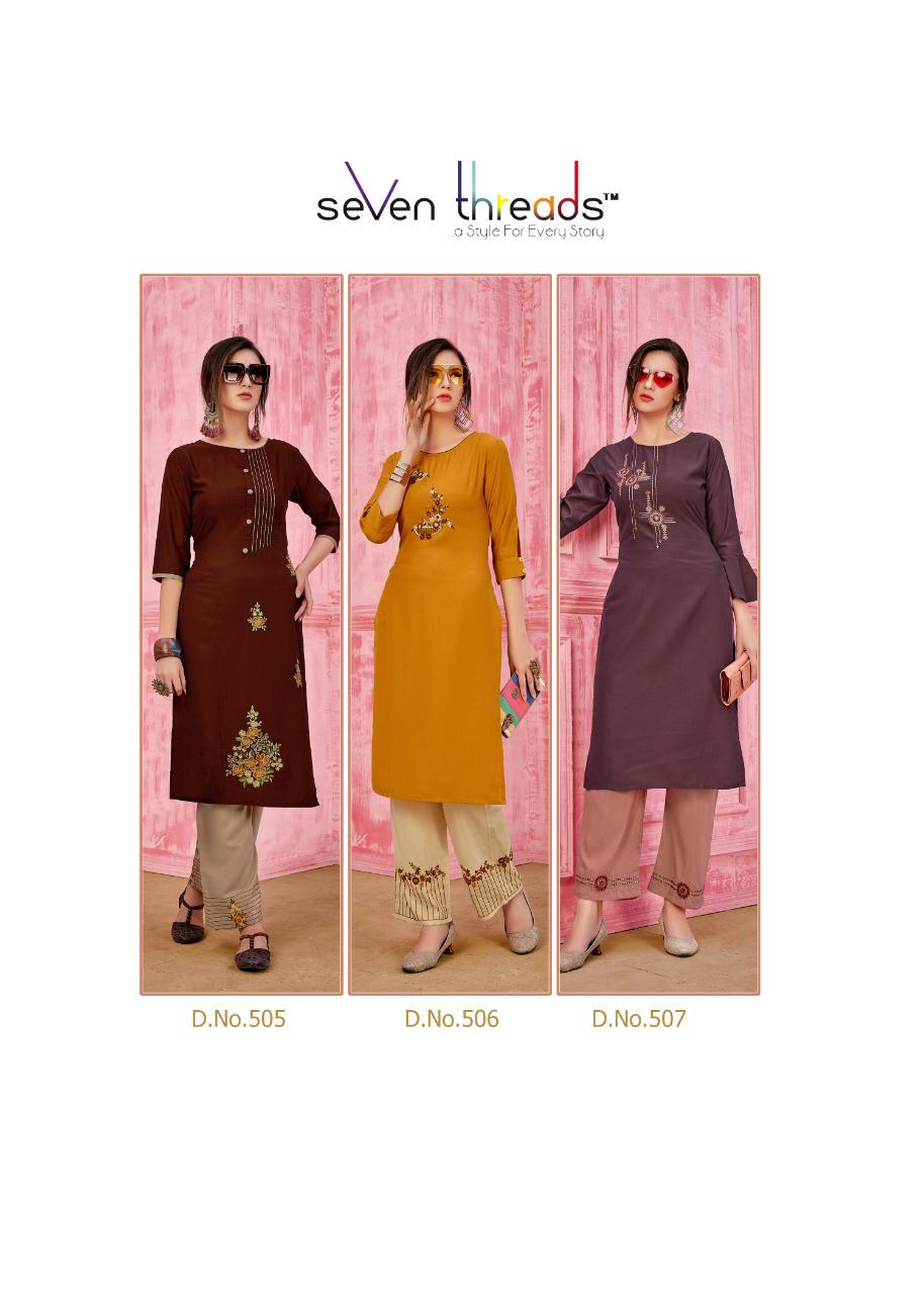 Seven Threads Rung Prime Silk Designer Kurti With Pant collection 10