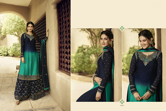 Glossy 5400 Georgette Embroidery Designer collection 6