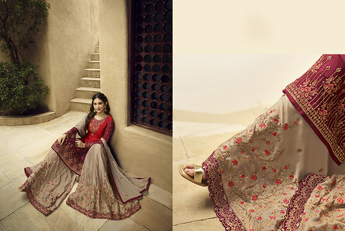 Glossy 5400 Georgette Embroidery Designer collection 7