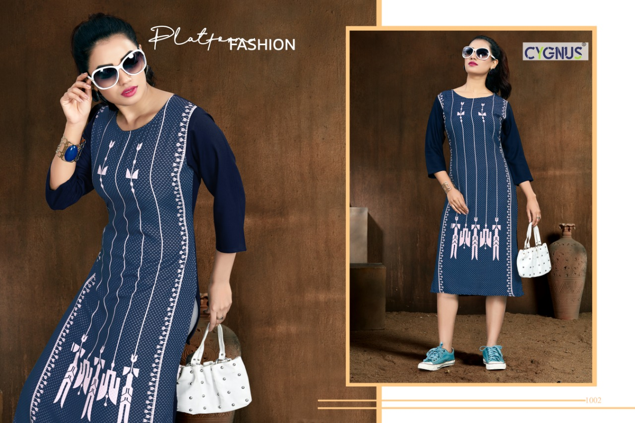 Cygnus Tannu Vol 2 Printed Rayon Kurti Full Catalog collection 8