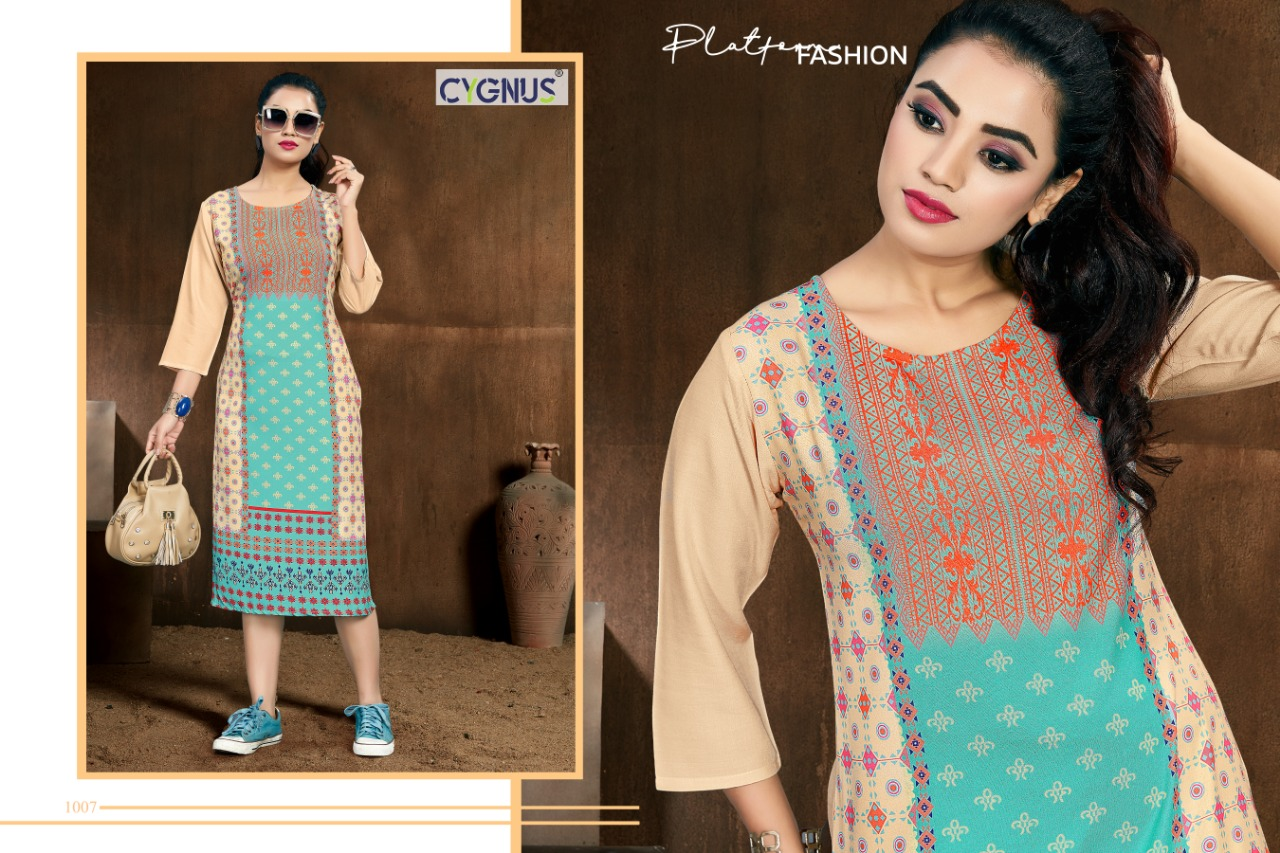 Cygnus Tannu Vol 2 Printed Rayon Kurti Full Catalog collection 3