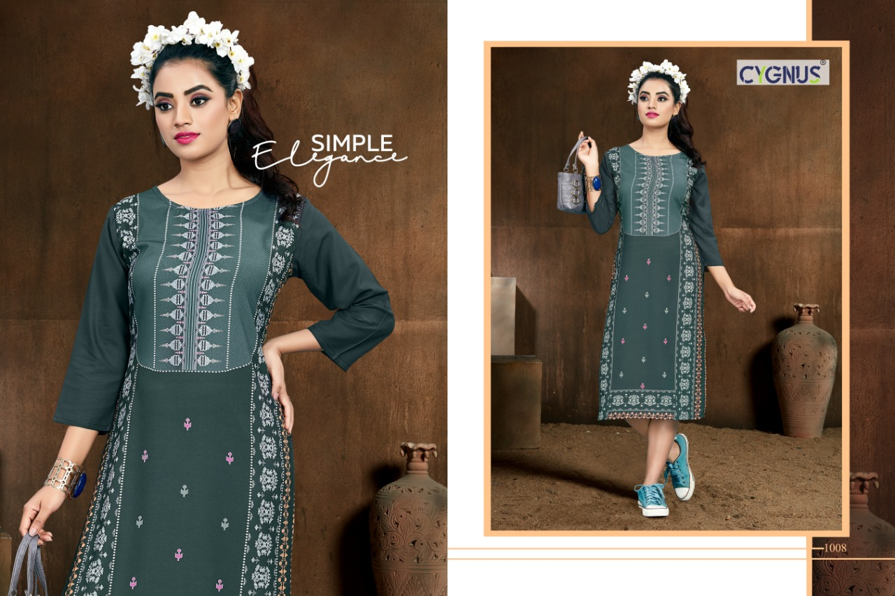 Cygnus Tannu Vol 2 Printed Rayon Kurti Full Catalog collection 9