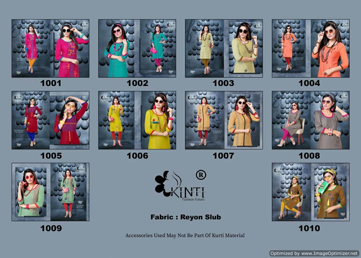 Kinti Bloom 10 Rayon Slub Printed Kurti Collection collection 1