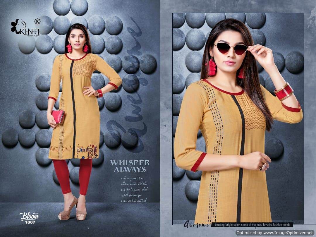 Kinti Bloom 10 Rayon Slub Printed Kurti Collection collection 7