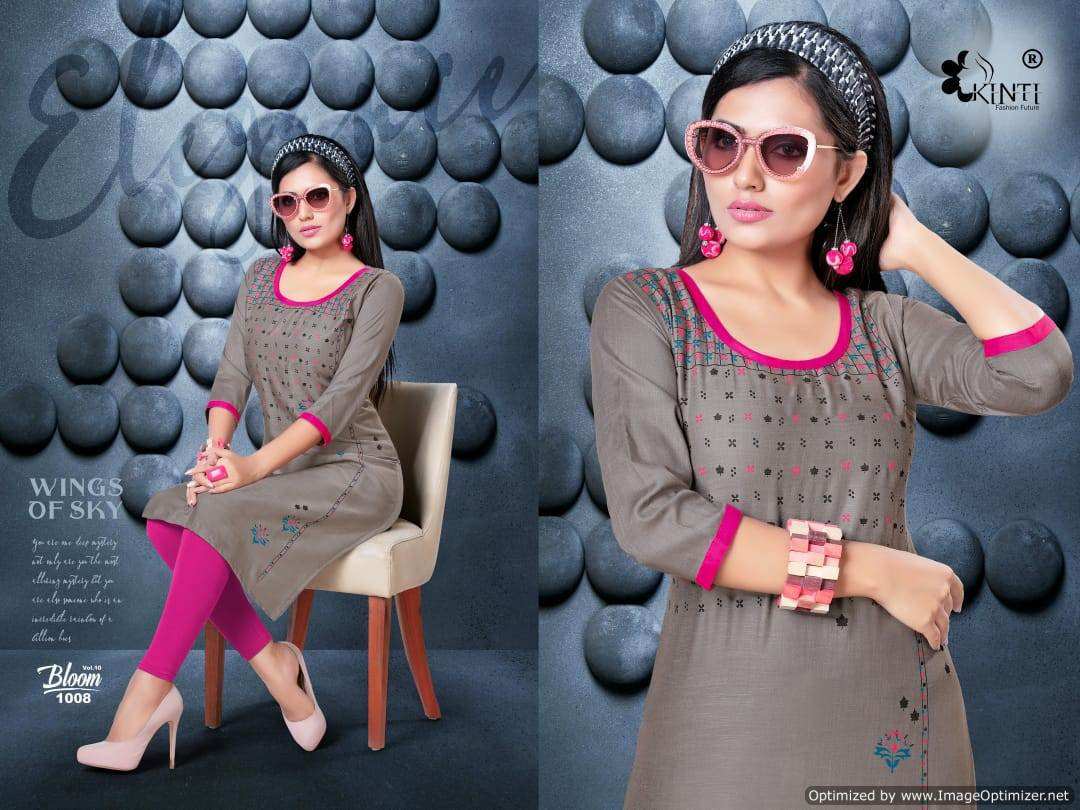 Kinti Bloom 10 Rayon Slub Printed Kurti Collection collection 9