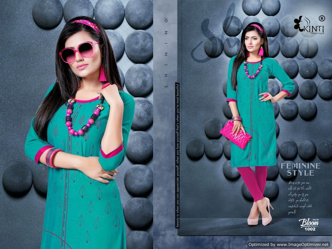 Kinti Bloom 10 Rayon Slub Printed Kurti Collection collection 10