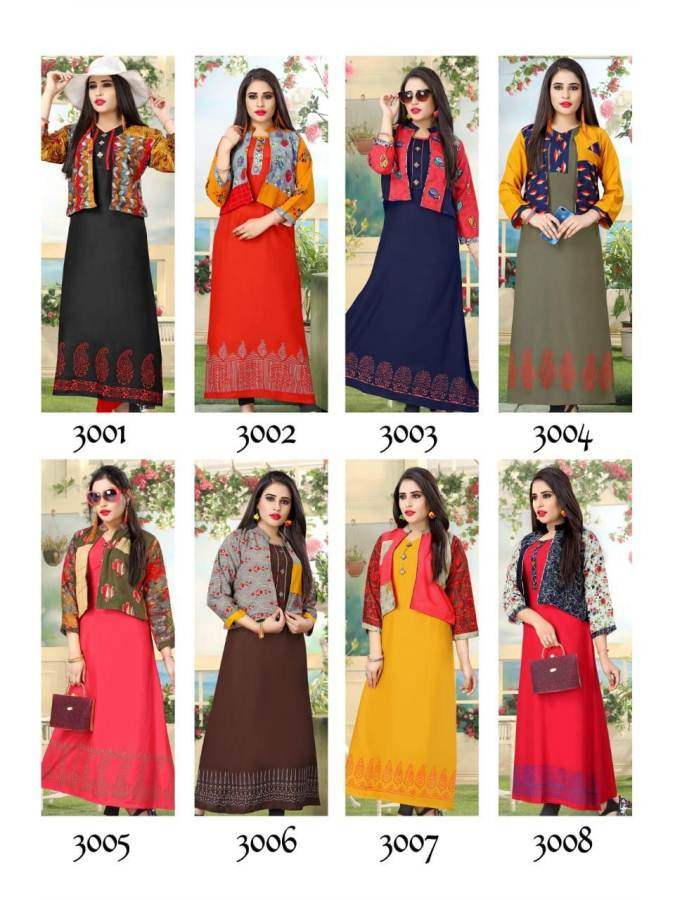 0a13dddf02 Kunj Hello Jacket 3 Kurtis in Wholesale Rate | Kurtis Wholesaler ...