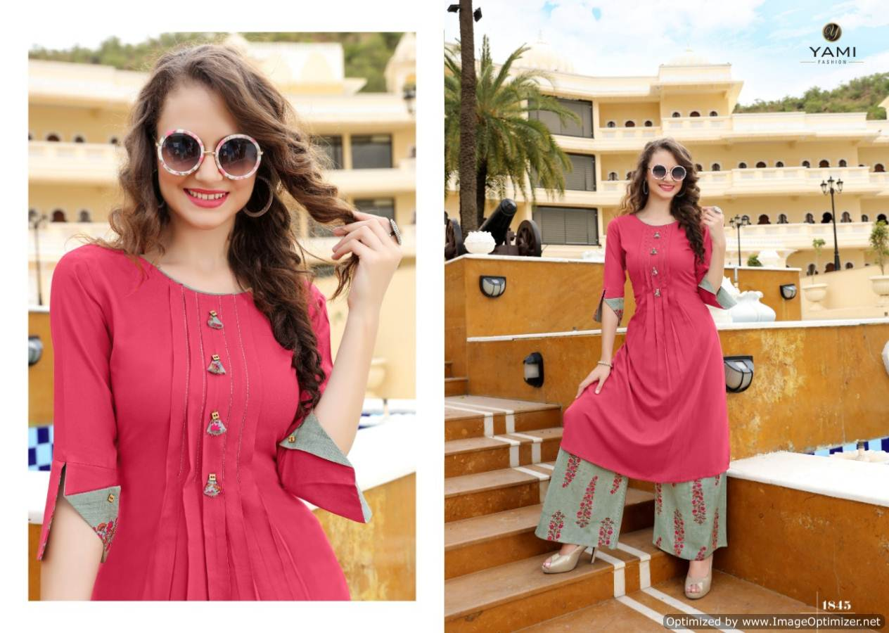 Yami Gerua 3 Heavy Rayon Kurti With Plazzo Full Set collection 8
