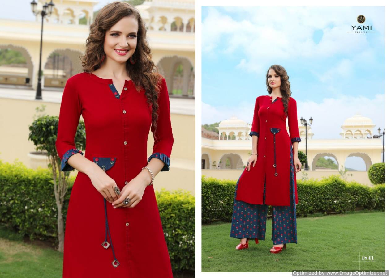Yami Gerua 3 Heavy Rayon Kurti With Plazzo Full Set collection 3