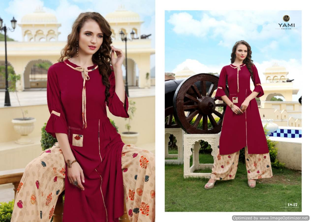 Yami Gerua 3 Heavy Rayon Kurti With Plazzo Full Set collection 4