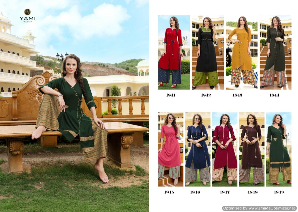 Yami Gerua 3 Heavy Rayon Kurti With Plazzo Full Set collection 1