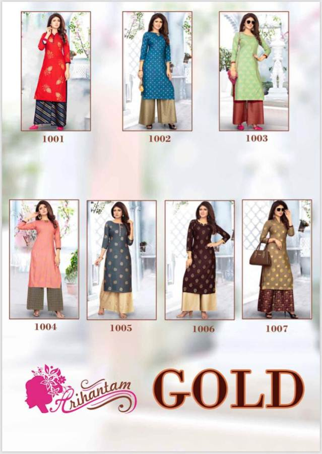 Arihantam Gold Heavy Rayon Gold Printed Kurti With Plazzo collection 4