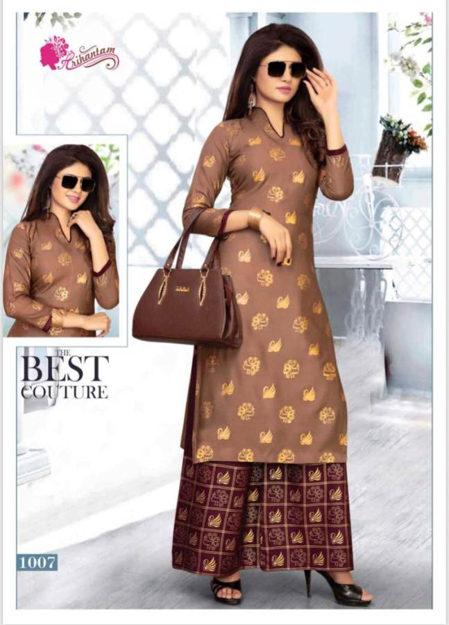 Arihantam Gold Heavy Rayon Gold Printed Kurti With Plazzo collection 2