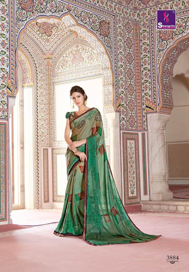 Shangrila Utophia 2 Printed Georgette Fancy Saree Saller collection 8
